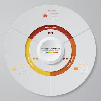 3 steps modern pie chart infographics elements.