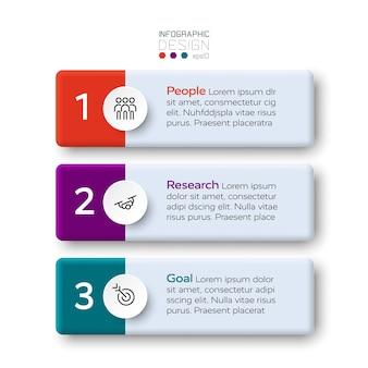 3 шага этикетки опишите общий бизнес-процесс и другие работы. инфографический дизайн.