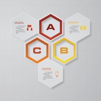 3 steps process design element for presentation.