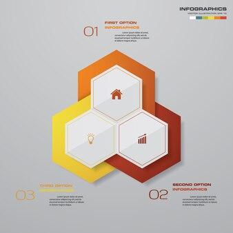3 steps process design infographics element.
