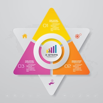 3 steps process infographics element chart.