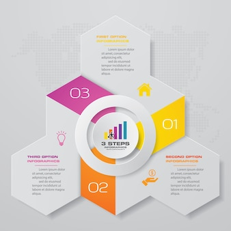 3 steps process infographics element chart.