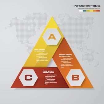 3 steps process infographics element for presentation.