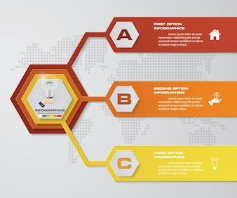 3 steps process infographics element.