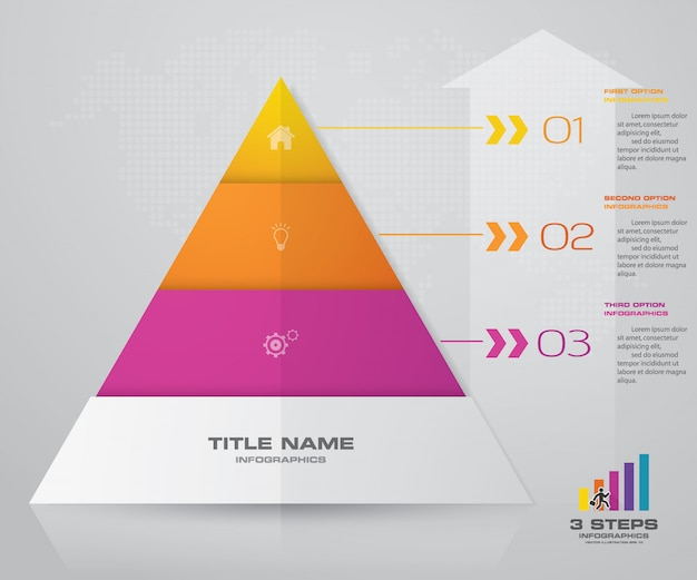 3 steps pyramid presentation chart. eps10.