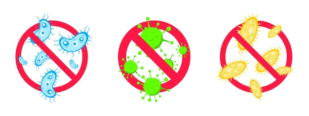 3 stop viruses and bad bacterias or germs prohibition sign