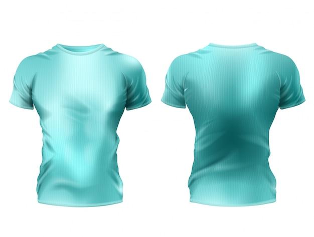 3つの現実的な男性のtシャツ模型、青いシャツ、白い背景に短い袖