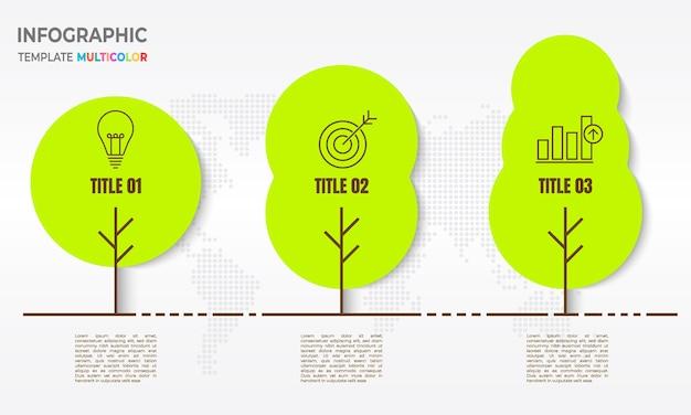 3ツリータイムラインインフォグラフィック