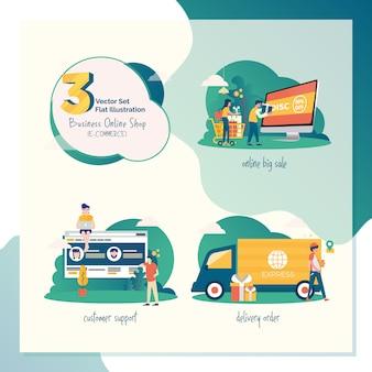 3 vector set flat illustration for marketing or e-commerce