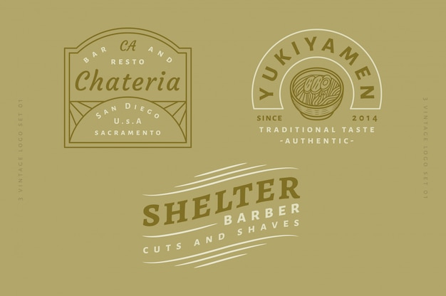 3 vintage logo set vol 03 - chateria bar and resto logo - yukiyamen traditional taste authentic logo - shelter barber cuts and shaves logo fully editable text, color and outline