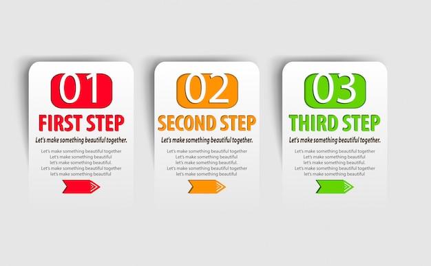 3つのオプションを持つモダンなインフォグラフィックテンプレート。ベクトルイラストワークフローのレイアウト、図、番号のオプション、webデザインに使用できます。