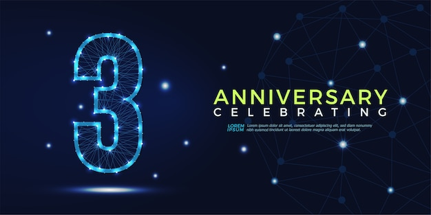 3 years anniversary celebrating numbers abstract polygonal