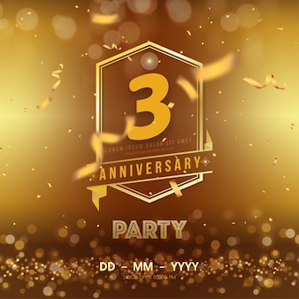 3 years anniversary logo template on gold