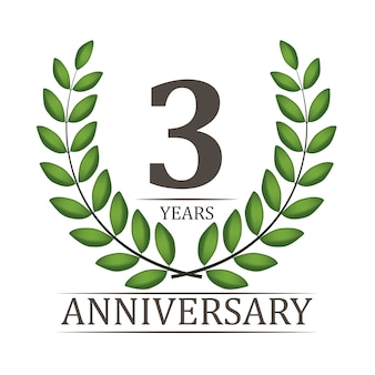3 years anniversary template with red ribbon and laurel wreath