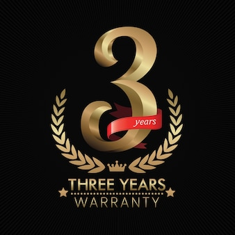 3 years warranty background with red ribbon