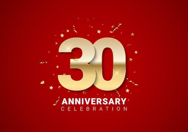 밝은 빨간색 휴일 배경에 황금 숫자, 색종이 조각, 별이 있는 30주년 배경. 벡터 일러스트 레이 션 eps10
