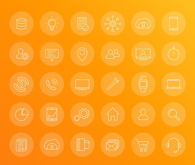 30 business, commerce linear icons