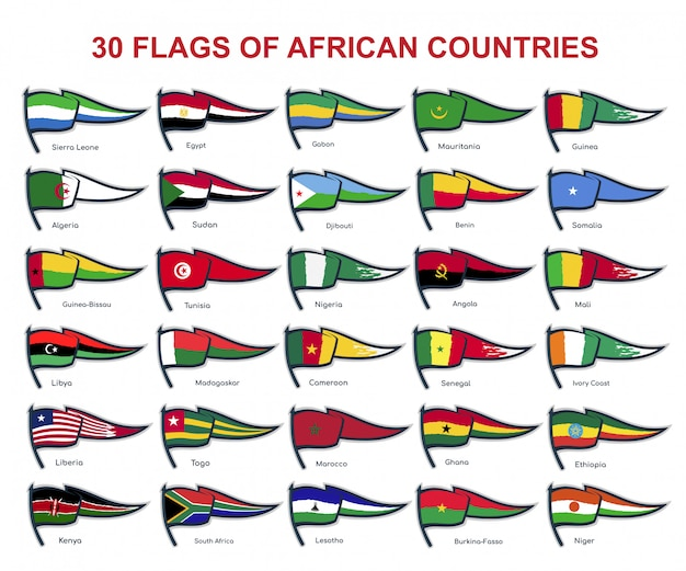 30 flags of african countries