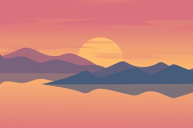 30. 평평한 풍경 호수의 아름다운 산들의 일몰은 주황색과 파란색
