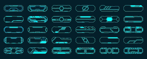 Набор элементов hud футуристического интерфейса 30 кадров