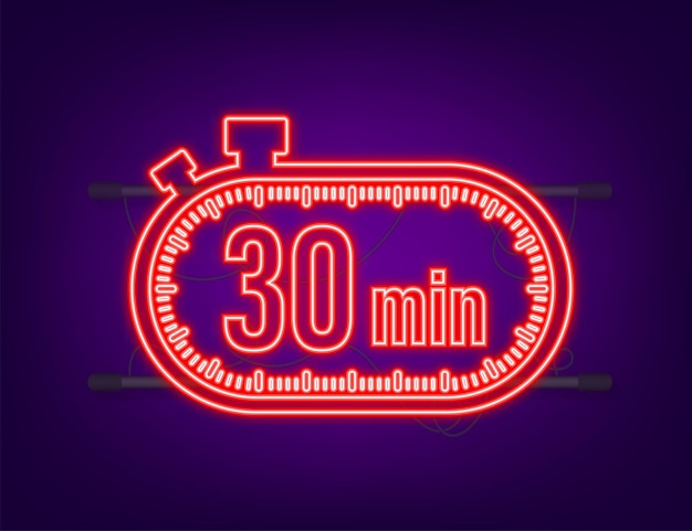 The 30 minutes, stopwatch vector neon icon. stopwatch icon in flat style, timer on on color background. vector illustration.