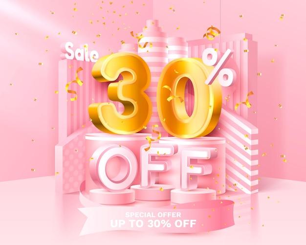 30%オフ。クリエイティブな構成を割引します。装飾品、金色の紙吹雪、表彰台、ギフトボックスの3d販売シンボル。販売バナーとポスター。ベクトルイラスト。