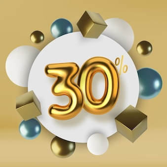 30 off discount promotion sale made of 3d gold text realistic spheres and cubes