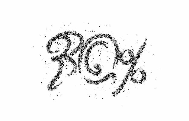 パーティクルセール割引バナーが30%オフ。割引オファーの値札。ベクトルモダンステッカーイラスト。