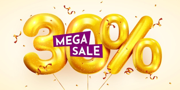 30 percent off discount creative composition of golden balloons mega sale or thirty percent
