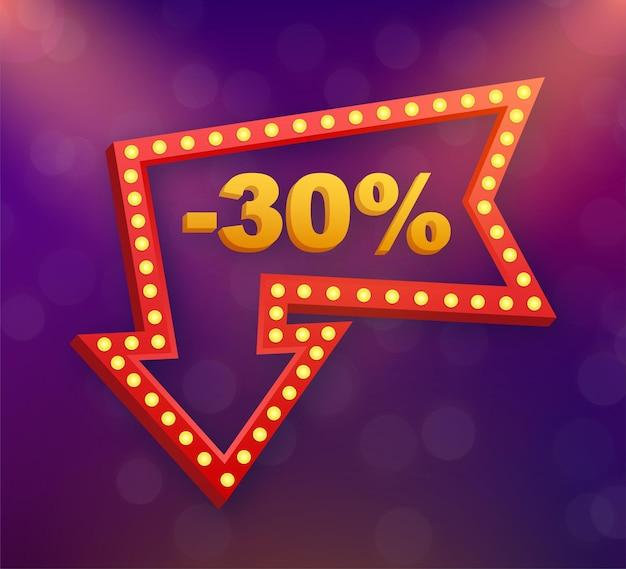 30%オフセール割引バナー。割引オファーの値札。長い影の30%割引プロモーションフラットアイコン。ベクトルイラスト。
