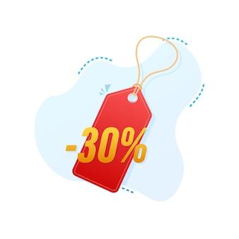 Скидка 30%. скидка на продажу. ценник предложения скидки. 10-процентная скидка на продвижение плоский значок с длинной тенью. векторная иллюстрация.