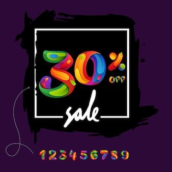 블랙 프라이데이 포스터, 전단지 및 기타 광고를 위한 브러시 획 배경에 30% 세일 레터링.