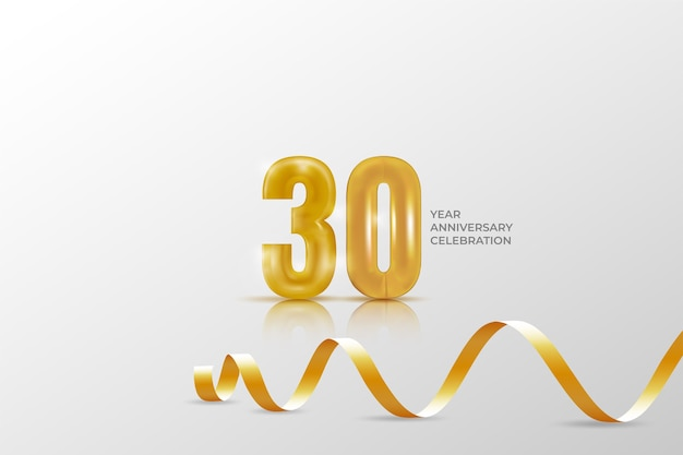30 year anniversary banner template. golden number.
