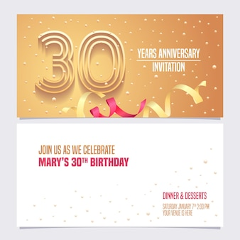 30 years anniversary invitation, 30th birthday card, party invite