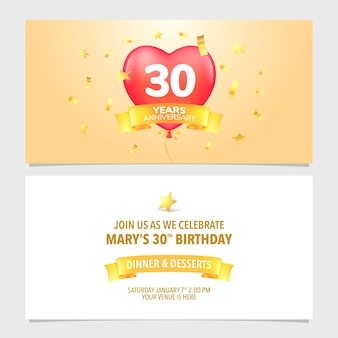 30 years anniversary invitation card   illustration. design template element with romantic hot air balloon for 30th birthday or marriage party invite