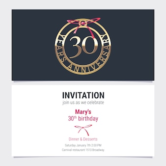 30 years anniversary invitation to celebration event vector illustration. design element with number and text for 30th birthday card, party invite Premium Vector