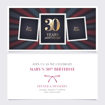 30 years anniversary invitation illustration.