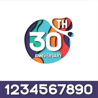 30 years anniversary papercut logo template
