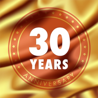 30 years anniversary template design with golden silk