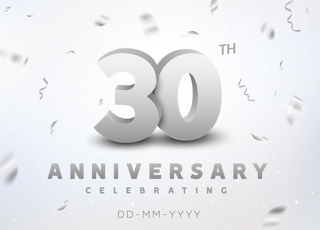 30 years silver number anniversary celebration event. anniversary banner ceremony design for 30 age.