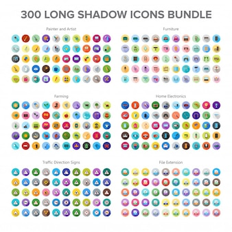 アーティスト、家具、農業、家電、交通標識300 long shadow icons bundl