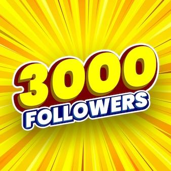 3000 followers banner vector illustration