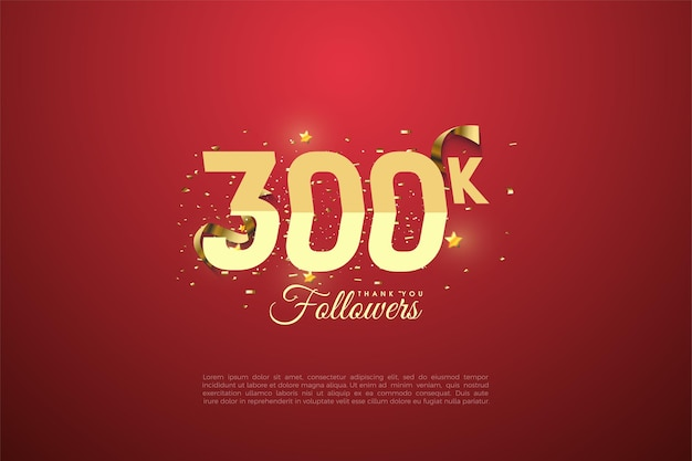 300k followers with numbers and gift box illustration.