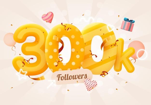 300 000 или 300 000 подписчиков спасибо розовое сердце, золотые конфетти и неоновые вывески.