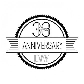 記念日のお祝いの紋章または記章の番号30