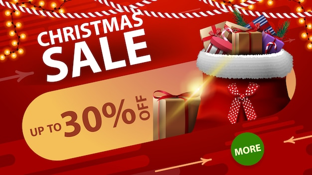 丸い緑色のボタンが付いた赤い割引バナーが最大30%オフのクリスマスセール