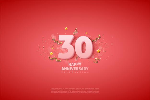 30-летие фон с выцветшими белыми цифрами иллюстрации