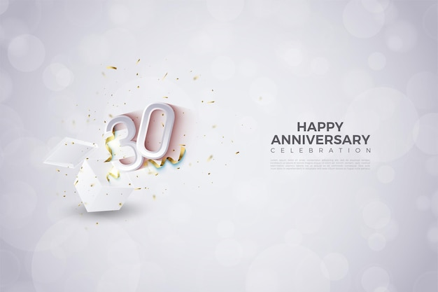 30th anniversary background with illustration of numbers bursting out of gift boxes