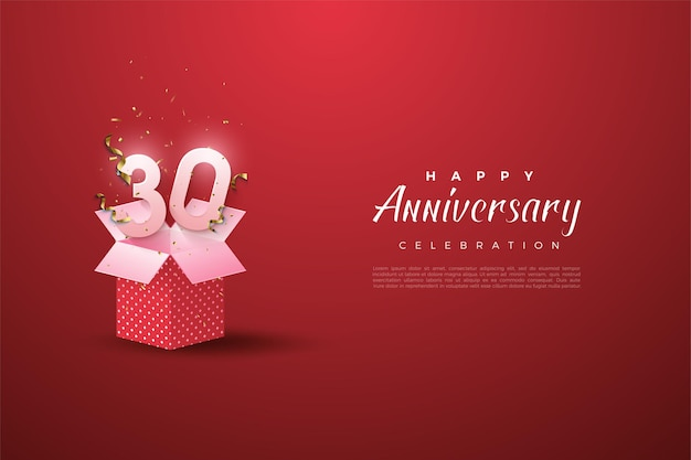 30th anniversary background with illustration of numbers emerging from gift boxes