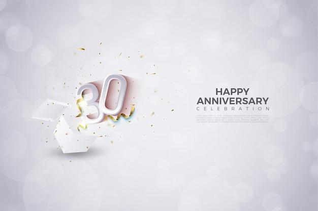 ギフトボックスからはじける数字のイラストと30周年記念の背景